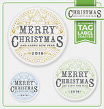 Merry Christmas Tags, Label, Coaster Letterpress Design. Royalty Free Stock Image