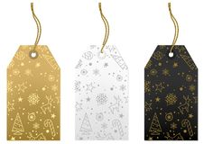 Merry Christmas Tags Set. Gold, White and Black Illustration, Vector Stock Photos