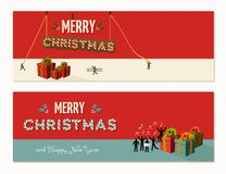 Merry Christmas teamwork cooperation Stock Images