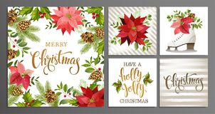 Merry Christmas Template Set for Greeting Scrapbook, congratulations, invitations, banner, stickers, postcards. Vector illustratio. Merry Christmas and Happy vector illustration