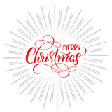 Merry Christmas text and abstract background with rays. Stock Photo