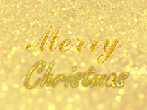 Merry christmas text on Abstract gold bokeh circles for christmas background, glitter light defocused and blurred bokeh. royalty free stock photography