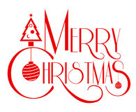 Merry Christmas text art red color vector illustration. Use for Royalty Free Stock Photos