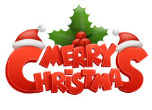 Merry Christmas  text Calligraphic title with ilex and santa claus hat Royalty Free Stock Image