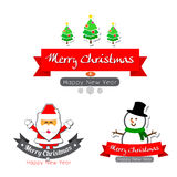 043-Merry christmas  text calligraphy with cartoon decoration fo. Merry christmas  text calligraphy with santa snowman and tree cartoon decoration for design Stock Photo