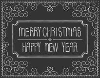 Merry Christmas text on the chalkboard Stock Photo