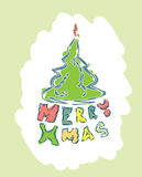 Merry christmas text with christmas tree Royalty Free Stock Photo