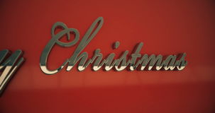 Merry christmas text closeup stock footage