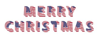 Merry Christmas text 3d letters from American flag. Merry Christmas text from 3d letters with American flag folded. Vector holiday design for greeting card Stock Images
