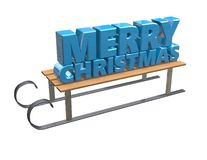 Merry Christmas text with 3d sledge  on white. Royalty Free Stock Photo