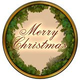 Merry christmas text in dark red on a pink background with oak tree leaves frame. Surrounded with golden frame vector illustration