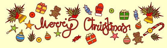 Merry Christmas Text Design On New Year Decorations Background Hand Drawn Style Horizontal Poster Royalty Free Stock Photos