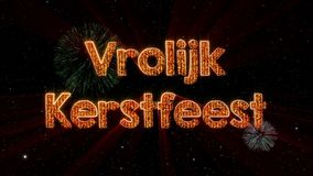 Merry Christmas text in Dutch Vrolijk Kerstfeest loop animation over dark animated background stock illustration