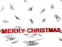 Merry christmas text and flying dollars Stock Images