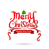 Merry Christmas text free hand design  on white backgrou. Nd vector illustration eps10 Stock Photography