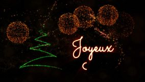 Merry Christmas' text in French 'Joyeux Noel' animation with pine tree and fireworks stock footage