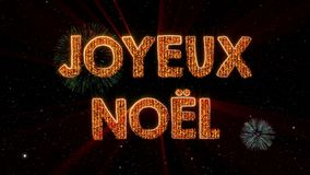 Merry Christmas text in French Joyeux Noel loop animation over dark animated background vector illustration