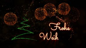 Merry Christmas' text in German 'Frohe Weihnachten' animation with pine tree and fireworks stock video footage