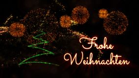 Merry Christmas text in German \'Frohe Weihnachten\' over pine tre. Merry Christmas text in German 'Frohe Weihnachten' over pine tree with sparkling particles royalty free illustration