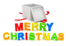 Merry Christmas Text with Gift Box on white backgr Stock Photography
