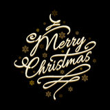 Merry Christmas text with golden snowflakes. Lettering Merry Christmas on black background with golden snowflakes. Vector illustration Royalty Free Stock Photos