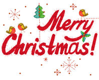 Merry Christmas text. hand drawn text. watercolor Christmas background. Stock Images
