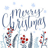 Merry Christmas text and hand drawn winter Stock Photography