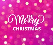 Merry Christmas text. Holiday greetings quote. Pink background with sparkling glowing lights. Bokeh effect. Merry Christmas text, hand drawn lettering. Pink Stock Illustration