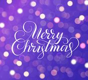Merry Christmas text. Holiday greetings quote. Purple background with sparkling glowing lights. Bokeh effect. Merry Christmas text. Purple background with Royalty Free Illustration
