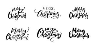 Merry Christmas text inscriptions. Set of calligraphy and hand lettering for Christmas greeting cards, tags and overlays vector illustration