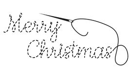 Merry Christmas text with interrupted contour. Hand made vector illustration with embroidery thread and needle royalty free stock images
