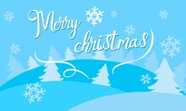 Merry christmas. Text for invitation, greeting card on blue background vector illustration