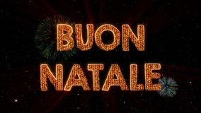 Merry Christmas text in Italian Buon Natale loop animation over dark animated background vector illustration