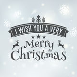 Merry Christmas text label on a winter background with snow and snowflakes. Greeting card template. Vector illustration design Royalty Free Stock Image