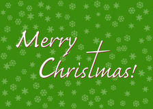 Merry Christmas text with letter t stretched out to a cross. On green background with snow flakes Royalty Free Stock Image