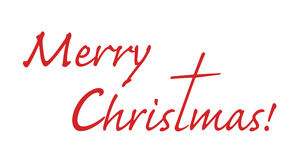 Merry Christmas -text with letter t stretched out. To a shape of a cross Royalty Free Stock Photography