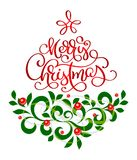 Merry Christmas text lettering calligraphic with a vintage flourish design element in the form of a tree, vector. Illustration Stock Images