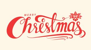 Merry Christmas text, Lettering design card template, Handwritin Royalty Free Stock Images