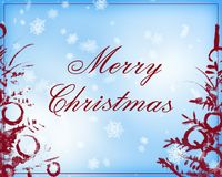 Merry Christmas text in light blue and dark red color Stock Photo