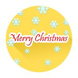 Merry Christmas text with long shadow effect. On yellow circle vector illustration