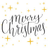Merry christmas text. Modern calligraphy type made Royalty Free Stock Image