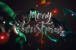 Merry Christmas Text Ornament Glass Stars on Dark Background 3D. Rendering Royalty Free Stock Photos