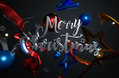 Merry Christmas Text Ornament Glass Stars on Dark Background 3D. Rendering Stock Photography