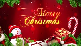 Merry Christmas text with Particles and Ornaments stock video footage