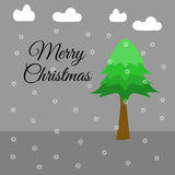 Merry Christmas text with A pine tree Royalty Free Stock Image