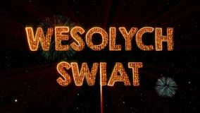 Merry Christmas text in Polish Wesolych Swiat loop animation over dark animated background royalty free illustration
