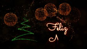 Merry Christmas' text in Portuguese 'Feliz Natal' animation with pine tree and fireworks stock video