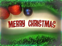 Merry Christmas text in red color on christmas tree ball toys and garlands background. Greeting card royalty free illustration