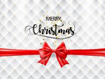 Merry Christmas Text with Red Ribbon and Gold Stars on White and Gold Texture. Vector. royalty free stock images