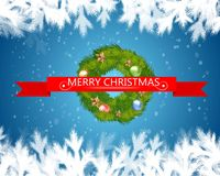Merry christmas text in red ribbon with christmas tree on blue background. Vector illustration. royalty free stock image